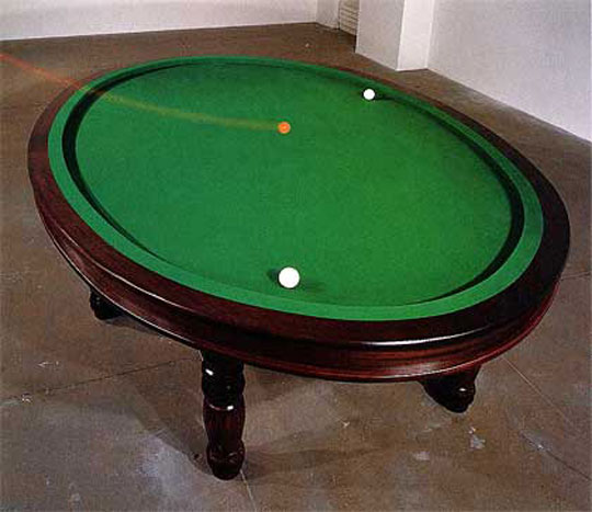 Genial Oval Billiard Table, 1996. Wood, Slate, Mixed Media; 35 X 122 X 90 Inches.  Edition Of 3. Photo By Carol Shadford. Collection MAC, Galleries  Contemporaines ...